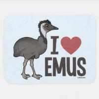 I Love Emus Baby Blanket