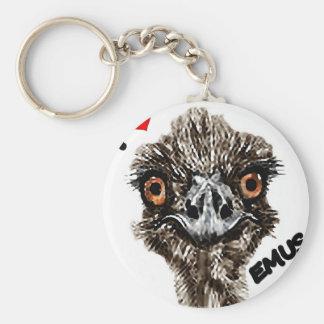 I LOVE EMUS BASIC ROUND BUTTON KEYCHAIN