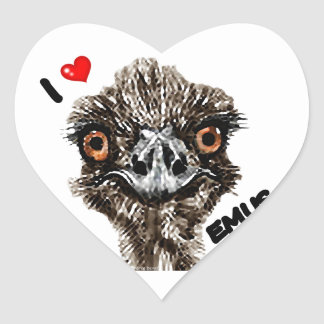 I LOVE EMUS HEART STICKER