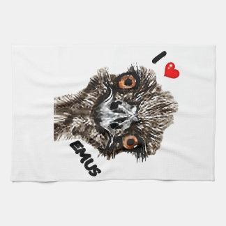 I LOVE EMUS HAND TOWELS