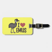I Love Emus Small Luggage Tag with leather strap