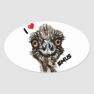 I LOVE EMUS OVAL STICKER