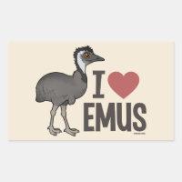 I Love Emus Rectangle Sticker