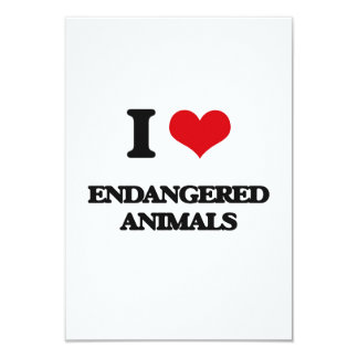 I love ENDANGERED ANIMALS 3.5x5 Paper Invitation Card