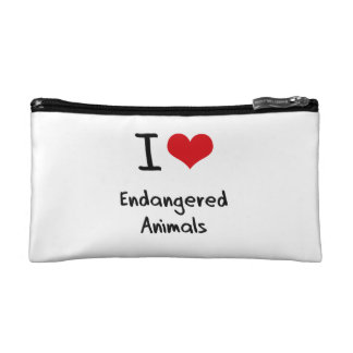 I love Endangered Animals Cosmetic Bags