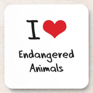 I love Endangered Animals Beverage Coaster