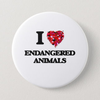 I love ENDANGERED ANIMALS Pinback Button