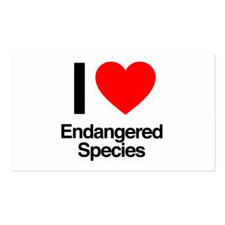 i love endangered species business cards