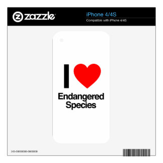 i love endangered species decals for the iPhone 4S