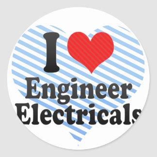 I Love Engineer Electricals Round Stickers