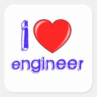 I Love Engineer Square Sticker