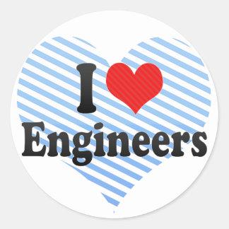 I Love Engineers Round Sticker