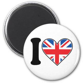 I Love England 2 Inch Round Magnet