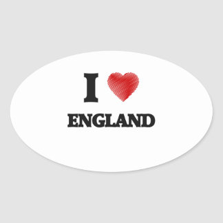I love ENGLAND Oval Sticker