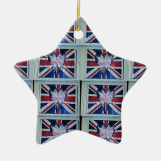 I love England.png Double-Sided Star Ceramic Christmas Ornament