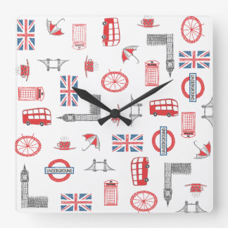 I Love England Square Clock With Typical English