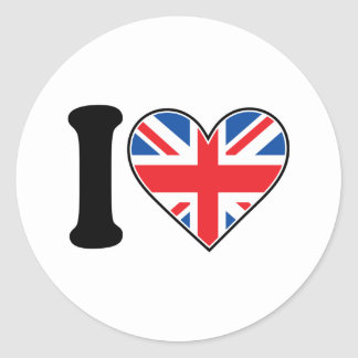 I Love England Classic Round Sticker