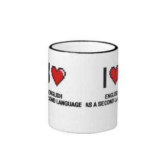 I Love English As A Second Language Digital Design Ringer Coffee Mug