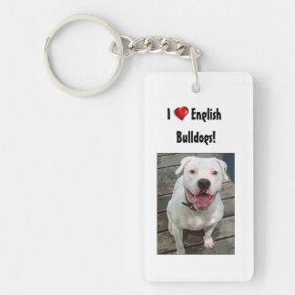 I Love English Bulldogs! Keychain