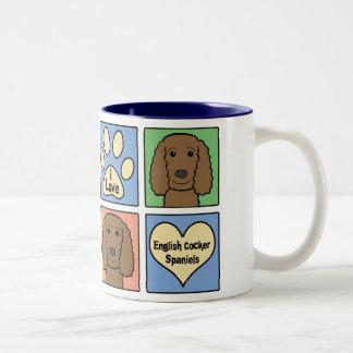 I Love English Cocker Spaniels Two-Tone Coffee Mug