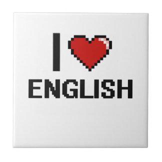 I Love English Digital Design Small Square Tile