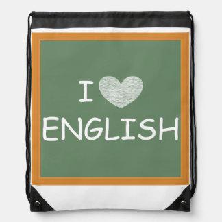 I Love English Drawstring Bag