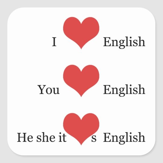 I love English for English Teacher ESL Students Square Sticker