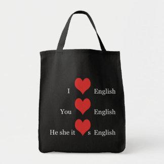 I love English Grammar TESOL ESL Teacher Student Grocery Tote Bag