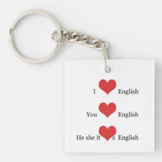 I love English Grammar TESOL ESL Teacher Student Keychain