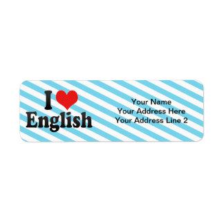 I Love English Label