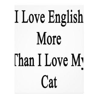 I Love English More Than I Love My Cat Letterhead