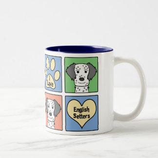 I Love English Setters Two-Tone Coffee Mug