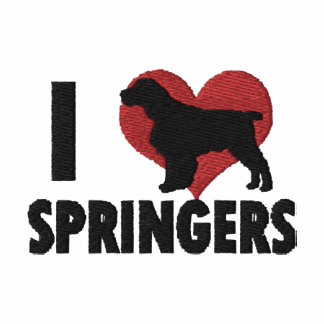 I Love English Springers Embroidered T-Shirt