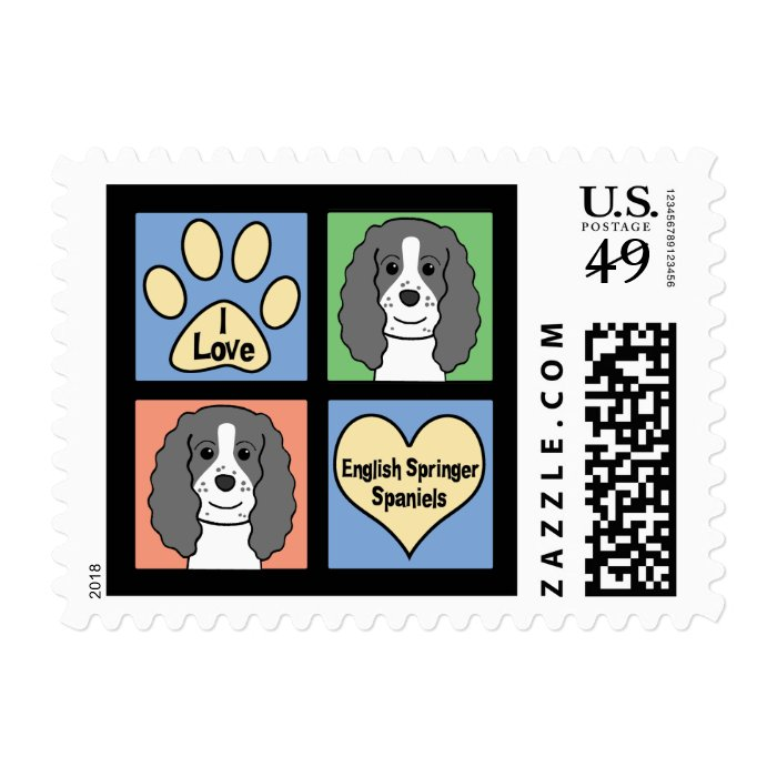 I Love English Springers Postage Stamp