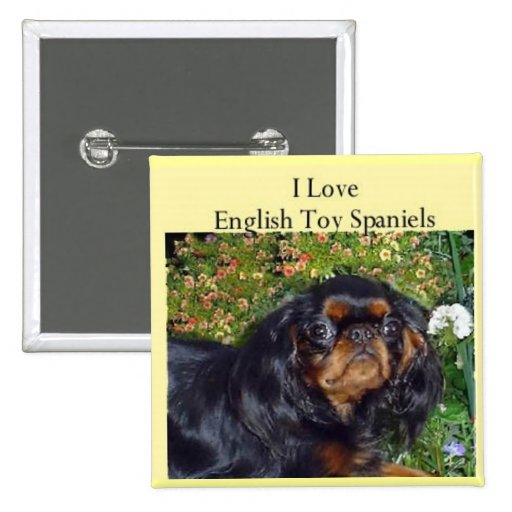 I love English Toy Spaniels 1 2 Inch Square Button