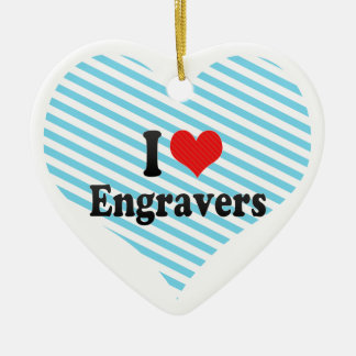 I Love Engravers Double-Sided Heart Ceramic Christmas Ornament