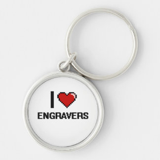 I love Engravers Silver-Colored Round Keychain