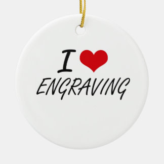 I love ENGRAVING Double-Sided Ceramic Round Christmas Ornament