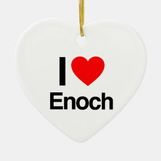 i love enoch Double-Sided heart ceramic christmas ornament