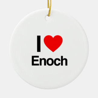 i love enoch Double-Sided ceramic round christmas ornament