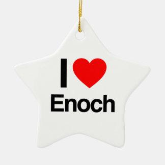 i love enoch Double-Sided star ceramic christmas ornament