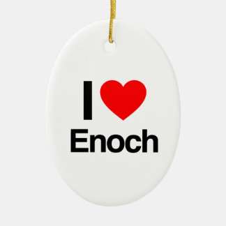 i love enoch Double-Sided oval ceramic christmas ornament