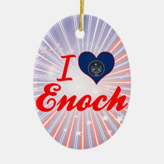 I Love Enoch, Utah Double-Sided Oval Ceramic Christmas Ornament