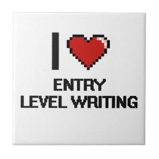 I Love Entry Level Writing Digital Design Small Square Tile