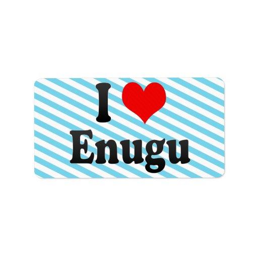 I Love Enugu, Nigeria Custom Address Label
