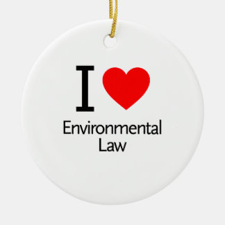 I Love Enviromental Law Double-Sided Ceramic Round Christmas Ornament