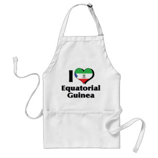 I Love Equatorial Guinea Flag Adult Apron