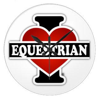I Love Equestrian Large Clock