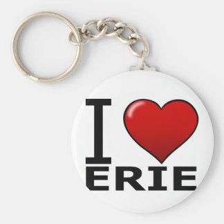 I LOVE ERIE,PA - PENNSYLVANIA BASIC ROUND BUTTON KEYCHAIN