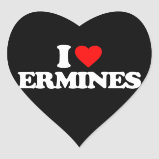 I LOVE ERMINES HEART STICKER